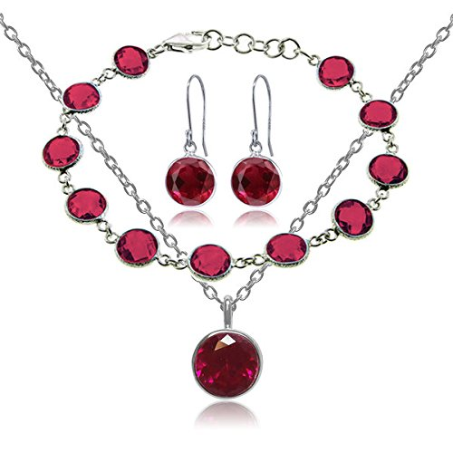 Beautiful 25.00ctw 3 Piece Created Ruby 925 Silver Jewelry Set