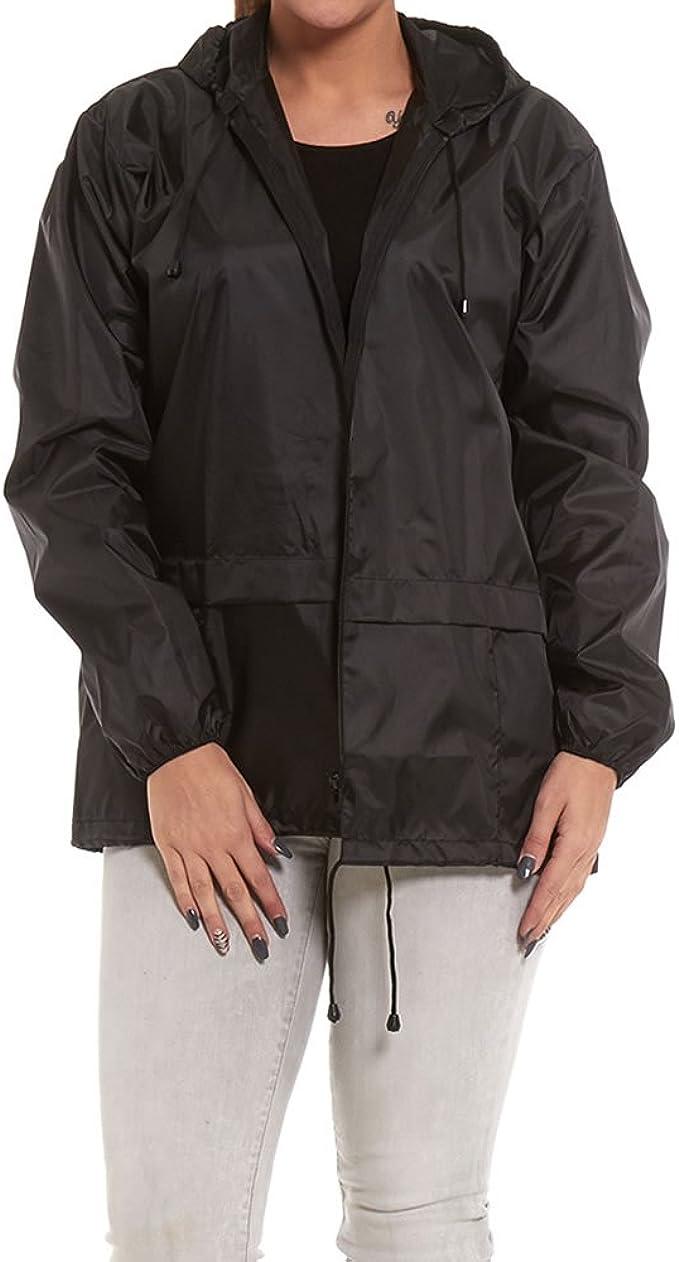 Lightweight Ladies Rain Jacket Coat Kagoul Hooded Pac A Way Showerproof Mac Hood