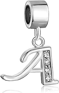 Letter Y Clear Rhinestone Initial Alphabet Dangle Charm for European Bracelets