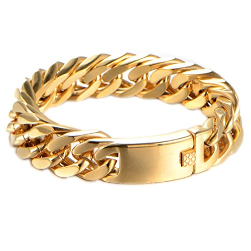 - Heavy Mens Bracelet Chain 316L Stainless Steel Punk Double Curb Cuban Rombo Link 15/17mm 7-11inch(8 inches, Gold 15mm)