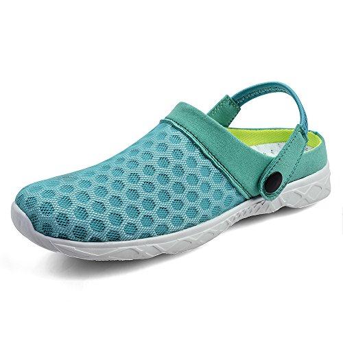 Creeker Zuecos Respirable Acoplamiento Sandalias para Mujeres de Playa Piscina Jardín Zapatos Verano de Malla Transpirable Verde