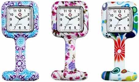 Avaner Pack of 3 Vintage Floral Silicone Nurse Doctor Medical Brooch Fob Watch Square Nurse Clip Pin On Hanging Pocket Quartz Watch
