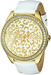 GUESS Women's U0346L1 Iconic White Genuine Leather Watch with Gold-Tone Case & Animal Print Dial