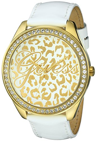 - GUESS Women's U0346L1 Iconic White Genuine Leather Watch with Gold-Tone Case & Animal Print Dial
