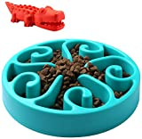 ARKEBAN Slow Feed Dog Bowl, Dog Chew Toy, Fun Feeder Slow Bowl, Bloat Stop Dog Puzzle Bowl Maze, Cat Food Water Bowl Pet Interactive Non Skid, Blue