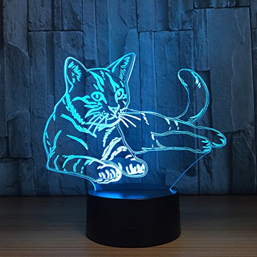 Cat Animal Night Light 3D Visual Bedroom LED Desk Lamp Cat Toy Household Home Room Decor 7 Colors Change Touch Table Light Birthday Gift Christmas Gift for Kids Children and (Best Blue Rhino Table Lamps)