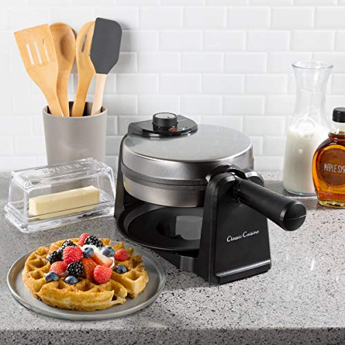 Non Stick Drip Pans - Classic Cuisine 82-KIT1119 Iron-Classic 180 Rotation Flip Waffle Maker with Nonstick Plates, Removable Drip Pan, Folding Handle-Kitchen Accessories