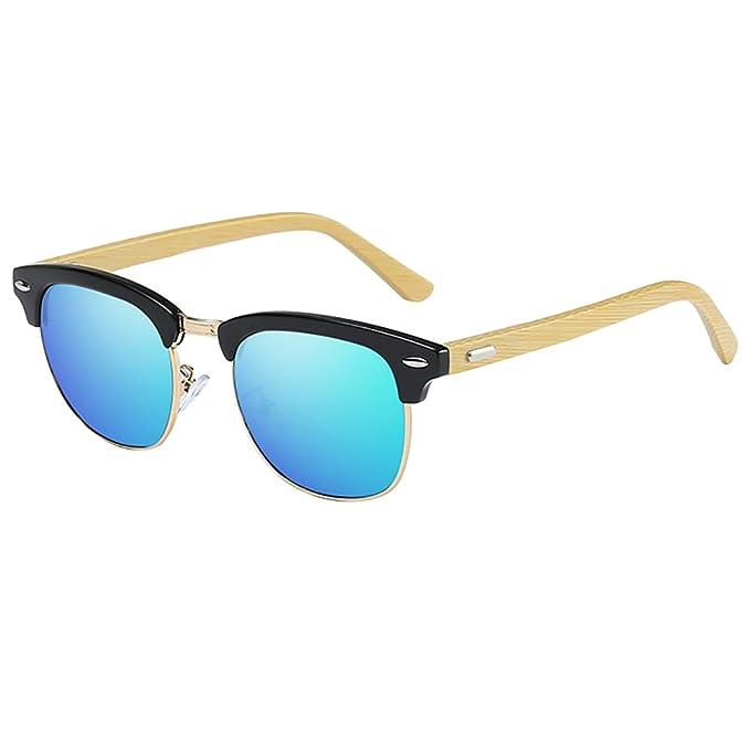 Clubmaster Gafas de sol Semi sin montura Gafas de sol bambú polarizadas gafas