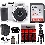 "Kodak PIXPRO AZ252 Point & Shoot Digital Camera with 3"" LCD, White 32GB Bundle with spider tripod and rechargeable battery"
