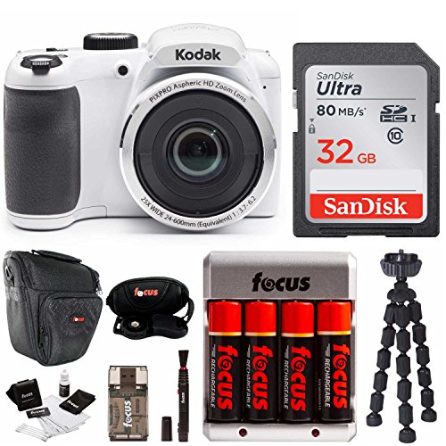 "Kodak PIXPRO AZ252 Point & Shoot Digital Camera 3"" LCD, White 32GB Bundle Spider Tripod Rechargeable Battery"