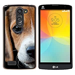 YiPhone /// Prima de resorte delgada de la cubierta del caso de Shell Armor - Ojos Beagle triste Cute Puppy Pet - LG L Prime D337 / L Bello D337