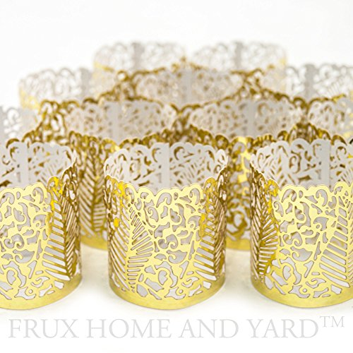 VOTIVE WRAPS- 48 Gold colored laser cut decorative wraps for Frux Home and Yard Flickering LED Battery Tealight Candles (not included) (Cylinder Lantern)