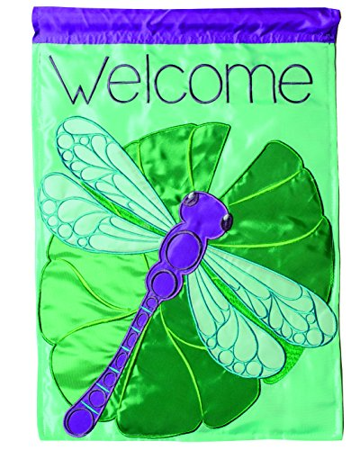 Lily Garden Flag (Carson Home Accents Double Applique Garden Flag, Dragonfly and Lily Pad)