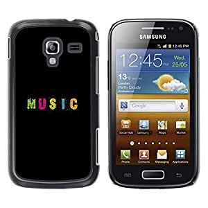 FECELL CITY // Duro Aluminio Pegatina PC Caso decorativo Funda Carcasa de Protección para Samsung Galaxy Ace 2 I8160 Ace II X S7560M // Text Minimalist Black Pink
