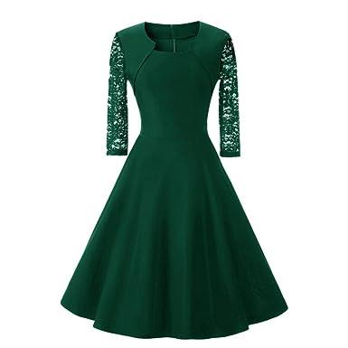 Damen Kleider, Dragon868 Damen Vintage Spitze Drei Viertel Sleeve O ...