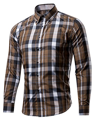 XTAPAN Men Western Casual Slim Fit Long Sleeve Button Down Large Check Shirt XL