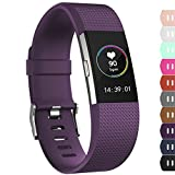 iGK Replacement Bands Compatible for Fitbit Charge 2 Bands, Adjustable Replacement Bands with Metal Clasp Compatible for Fitbit Charge 2 Wristbands Classic Edition Plum Small