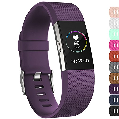 iGK For Fitbit Charge 2 Bands, Adjustable Replacement Bands with Metal Clasp for Fitbit Charge 2 Wristbands Classic Edition Plum Small