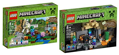 LEGO Minecraft The IRON GOLEM AND The DUNGEON Playsets BUNDLE