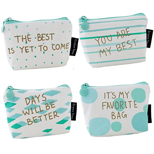 Oyachic 4 pcs Coin Purse Zipper Change Pouch Mini Wallet Gift for Women and Girls (words)