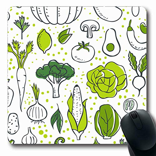 Ahawoso Mousepads Pattern Green Veggie Farm Fresh Vegetables Sketch Breakfast Food Drink Healthy Broccoli Eco Cabbage Oblong Shape 7.9 x 9.5 Inches Non-Slip Gaming Mouse Pad Rubber Oblong Mat