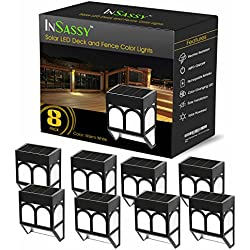 InSassy Solar LED Lights Outdoor - Wireless Waterproof Security Lighting for Deck, Fence, Patio, Front Door, Wall, Stair, Landscape, Yard and Driveway Path - Warm/Color Changing - 8 Pack