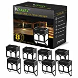 Cheap InSassy Solar Wall Lights Outdoor – Wireless Led Waterproof Security Lighting for Deck, Fence, Patio, Front Door, Wall, Stair, Landscape, Yard and Driveway Path – Warm/Color Changing – 8 Pack