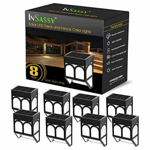 Solar LED Outdoor Lights - Wireless Waterproof Security Lighting for Deck, Fence, Patio, Front Door, Wall, Stair, Landscape, Yard and Driveway Path - Warm / Color Changing - 8 Pack (Outdoor Lighting Post Lights)