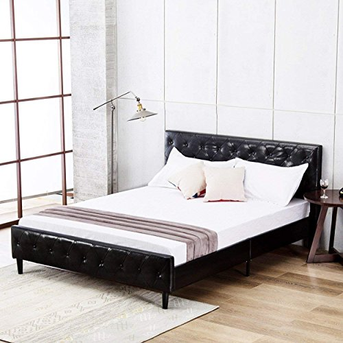 Mecor Upholstered PU Faux Leather Queen Platform Bed Frame with Solid Wooden Slats Support,Home Dorm Apartment,Black/Queen Size