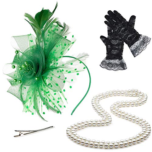 ZeroShop Fascinators Hats for Womens,Cocktail Party Hat,Tea Party Dress Headband,w/Pearl Necklace & Lace Gloves,Green