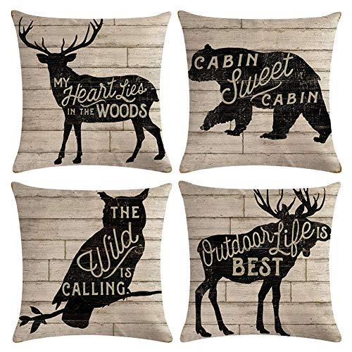 Decroitem Vintage Wild Animals Deer Elk Moose Bear Throw Pillow Covers Fall Decor Wildlife in Forest Mountain Cotton Linen Cushion Cover Pillow Cases 18 x 18 inches (Animals Quotes)