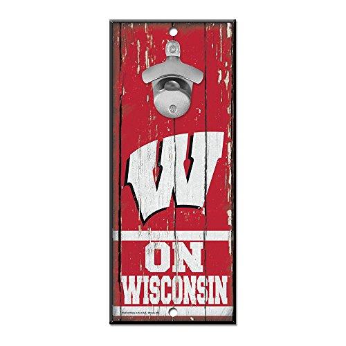 NCAA Wisconsin Badgers 5x11 Wood Sign Bottle Opener, Team Colors, 5