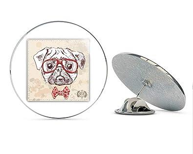 9e309d82d1814 Amazon.com  Hipster Pug Dog Head Sketch Round Metal 0.75