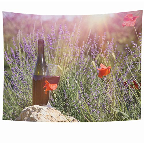 - Ahawoso Tapestry 60 x 50 Inches Glass Red Wine Bottle Ground Against Lavender Beverage Sunset Over Summer Field in Provence Design Home Decor Wall Hanging Tapestries for Living Room Bedroom Dorm