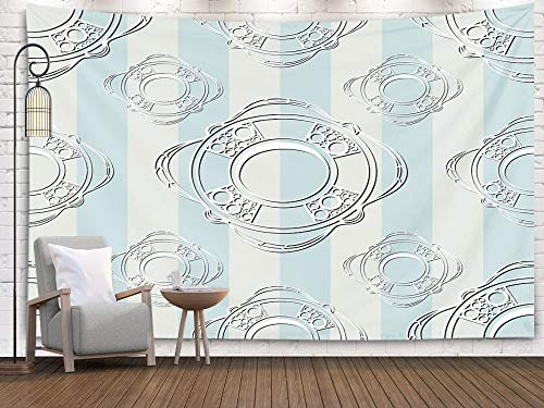 Bisead Bohemian Tapestry, Map Art Tapestry 80x60 inchs Pattern Texture Sailor Infinite Background Suitable Cloth Web Wrapping Wallpaper Wall Hanging Gifts for Bedroom Dorm - Wall Single Openwork