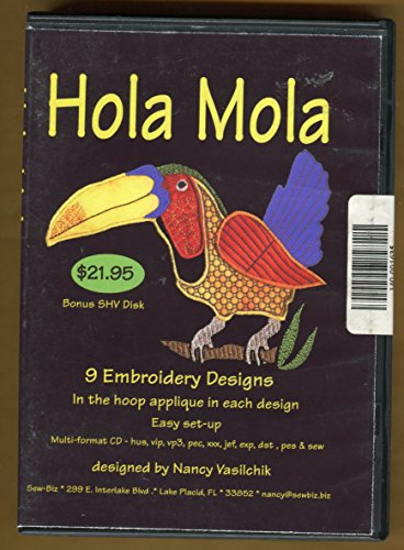 Hola Mola ** Multi Format Cd ** 9 Embroidery Designs in the Hoop Applique in Each Design ** Easy Set up