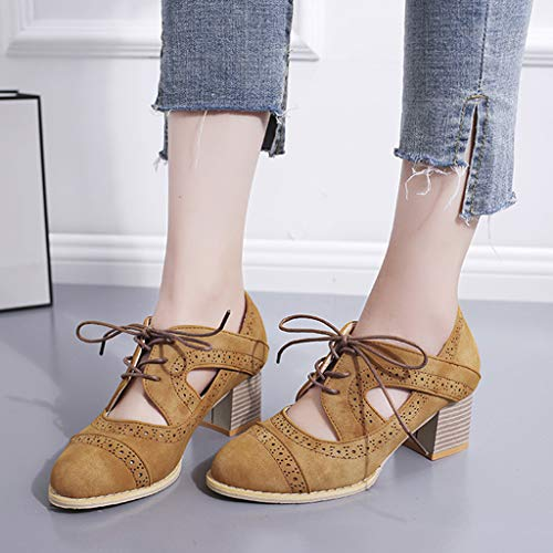 Belted Chunky Belt - Xinantime Womens Chunky Heel Oxfords Lace Up Cut Out Pumps Shoes Heel Sandals Openwork Ankle Boots Brown