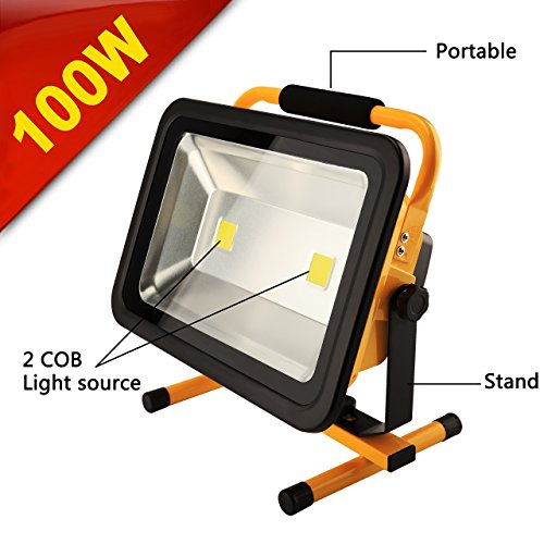 8 Hr Super Bright 100W Spotlights LED Outdoor Work Lights Camping Lights,Built-in Rechargeable Lithium Batteries IP65 Waterproof Portable Emergency Floodlight by Eurus Home (Image #3)