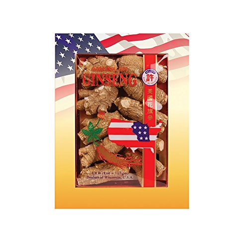 Hsu s Ginseng SKU 110-4 Short Extra Large Cultivated Wisconsin American Ginseng direct from Hsu s Ginseng Gardens w One Free Single American Ginseng Tea Bag 4oz box, , B005HSX9VM