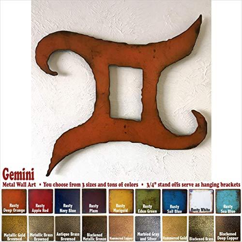 "Gemini Horoscope metal wall art home decor - Choose 11"", 17"", or 23"", Choose Patina color, Choose any Zodiac Symbol"