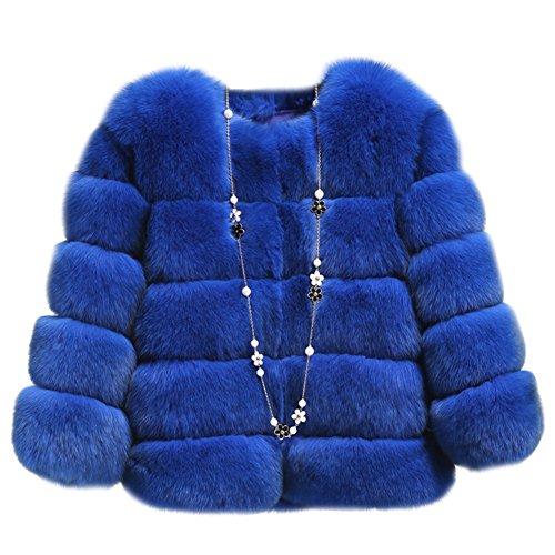 Mujer Fluffy Shaggy Chaquetas Piel Abrigo Faux Zafiro Parka Cabo t8wxS