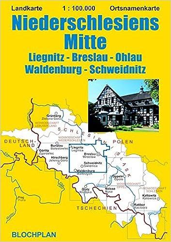 Schlesien Karte Deutsche Ortsnamen.Landkarte Niederschlesiens Mitte Liegnitz Breslau Ohlau