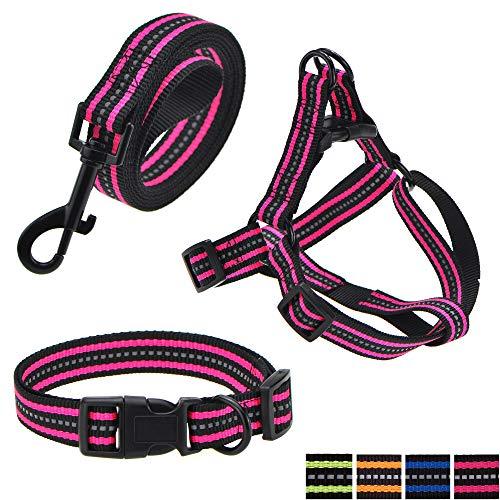 (Mile High Life Night Reflective Double Adjustable Band Nylon Small Puppy Pet Dog Combo (Pink, Collar Leash Harness, Mediun Neck 14