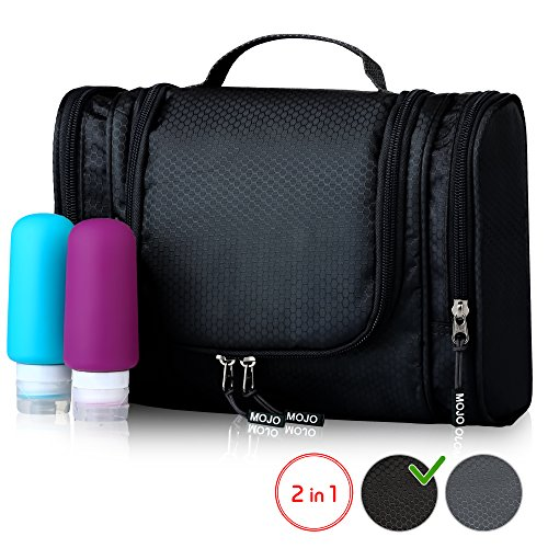 Toiletry Kit - Hanging Toiletry Bag with Travel Bottles Set - Shower Bag for Men Women - Cosmetic Travel Bag - Best Compact Waterproof Travel Accessories Organizer for Traveling Gym Bathroom - Black