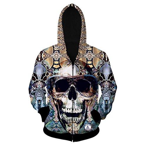 Price comparison product image D-Sun Men's Hooded Sweater 3D Skull Print Zipper Cardigan Hoodie (M)