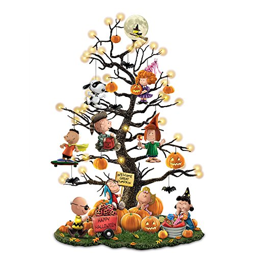 PEANUTS It's the Great Pumpkin Illuminated Halloween Tabletop Tree with Lights by The Bradford Exchange (Pumpkin Large Halloween)