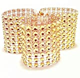 Carlie Napkin Rings Rhinestone Napkin Rings Adornment For Wedding Party (50 PCS, Gold)