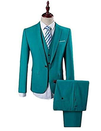3bd2a3538fe Botong Peacock Blue Wedding Suits for Men 3 Pieces Men Suits Formal Suit at Amazon  Men s Clothing store
