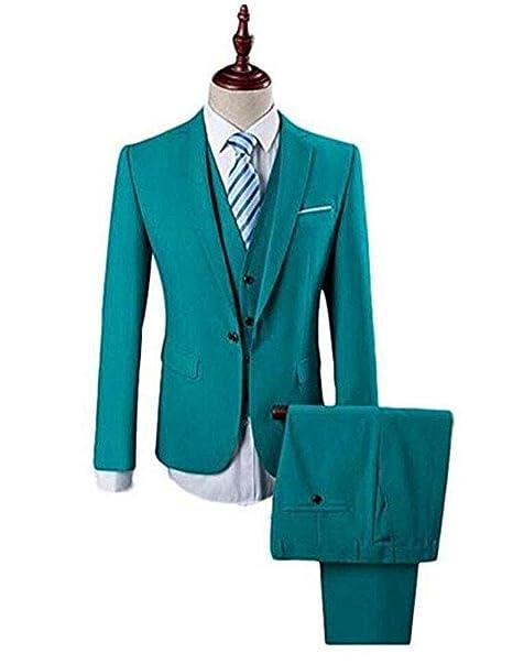 Botong Peacock Blue Wedding Suits for Men 3 Pieces Men Suits