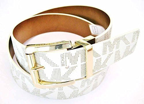 Michael Kors Women's Reversible MK Logo Leather Belt, Vanilla (M) (Belts Michael Women Kors)